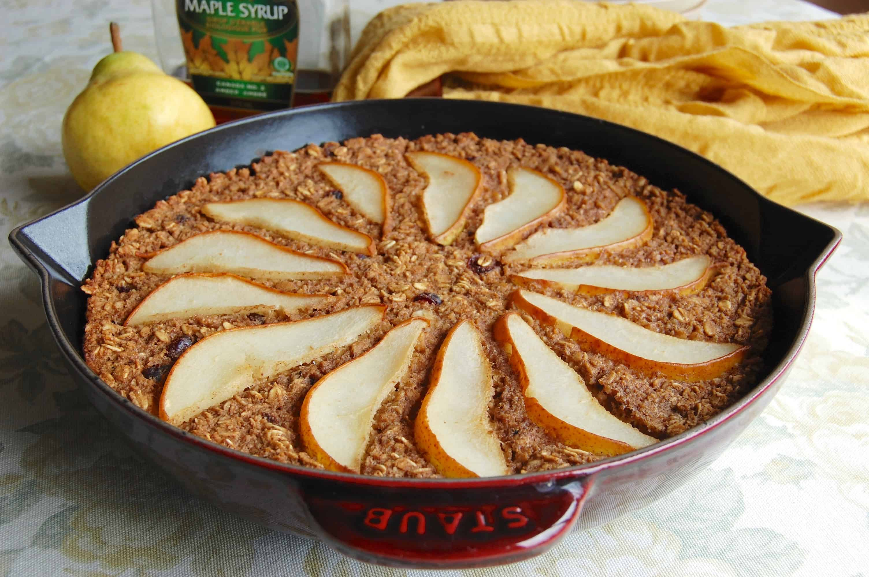 Pear Gingerbread Baked Oatmeal